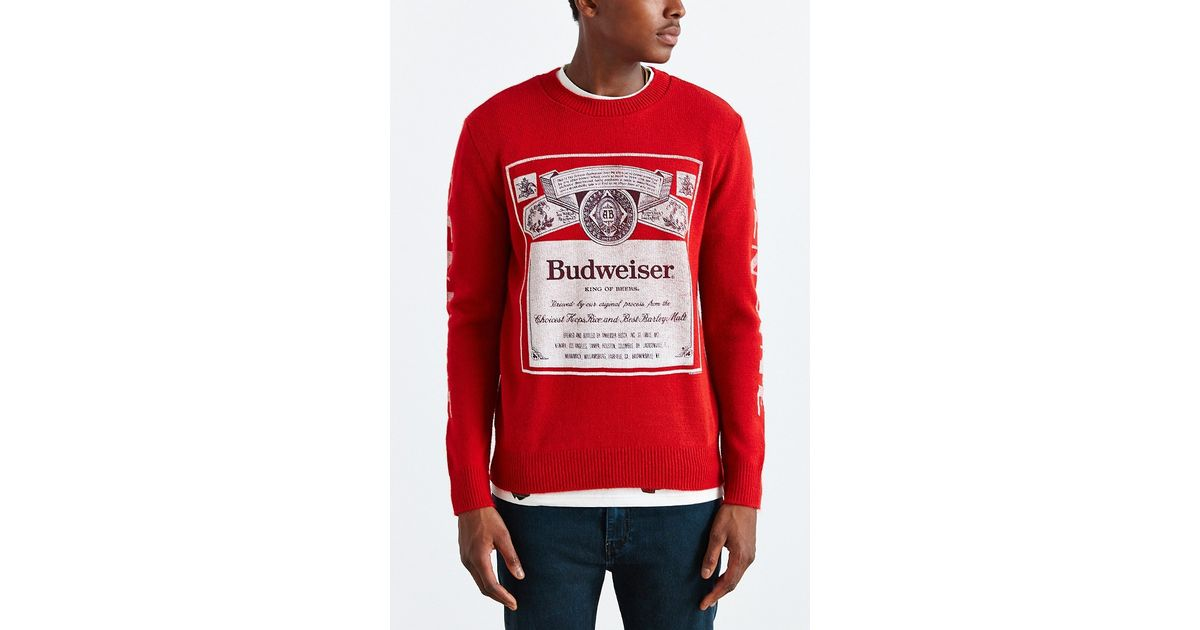 Junk food Budweiser Crew Neck Sweater in Red for Men | Lyst