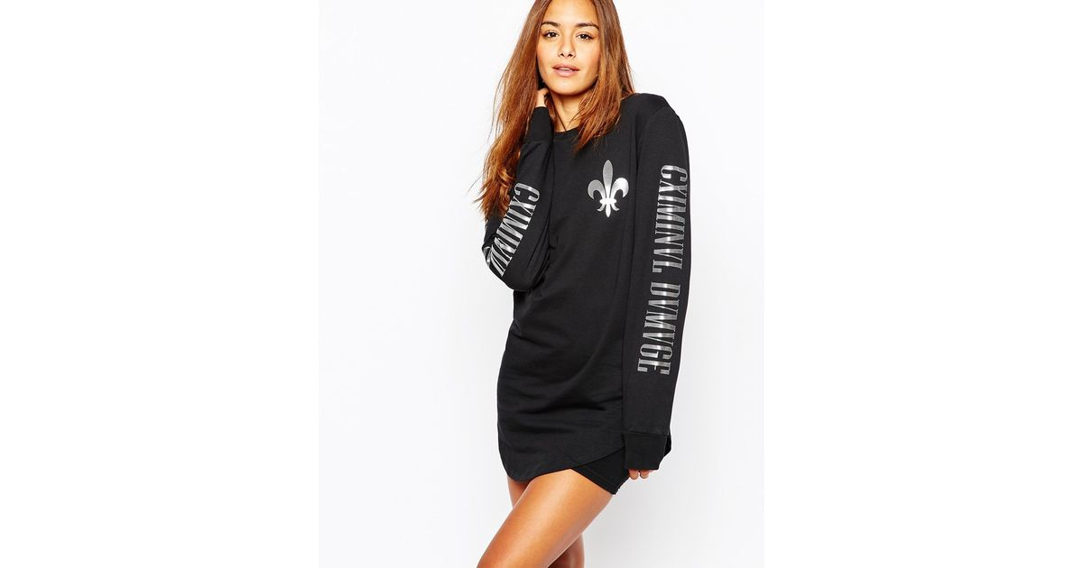 ac86c5d0ba9 Criminal Damage Long Sleeve T-shirt Dress With Arm Logo Print in Black -  Lyst
