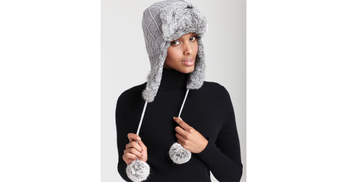 2ae24cf3712 Lyst - Surell Knit Aviator Hat in Gray