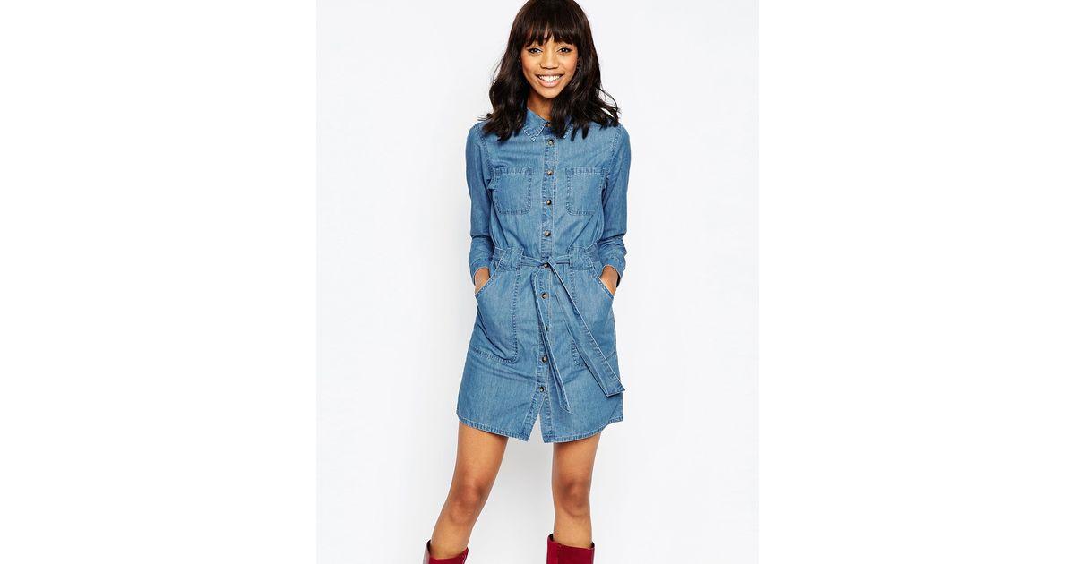 asos denim belted shirt dress in retro blue wash in blue