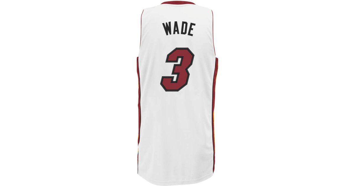 6436fd674 ... Adidas originals Mens Miami Heat Dwyane Wade Jersey in White for Men  Lyst