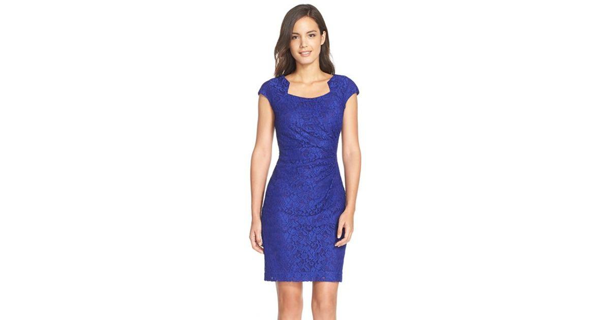 Square neck lace sheath dress