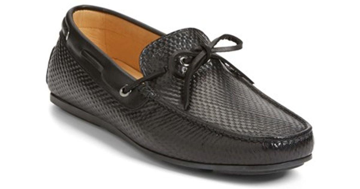 santoni toft driving shoe in black for lyst