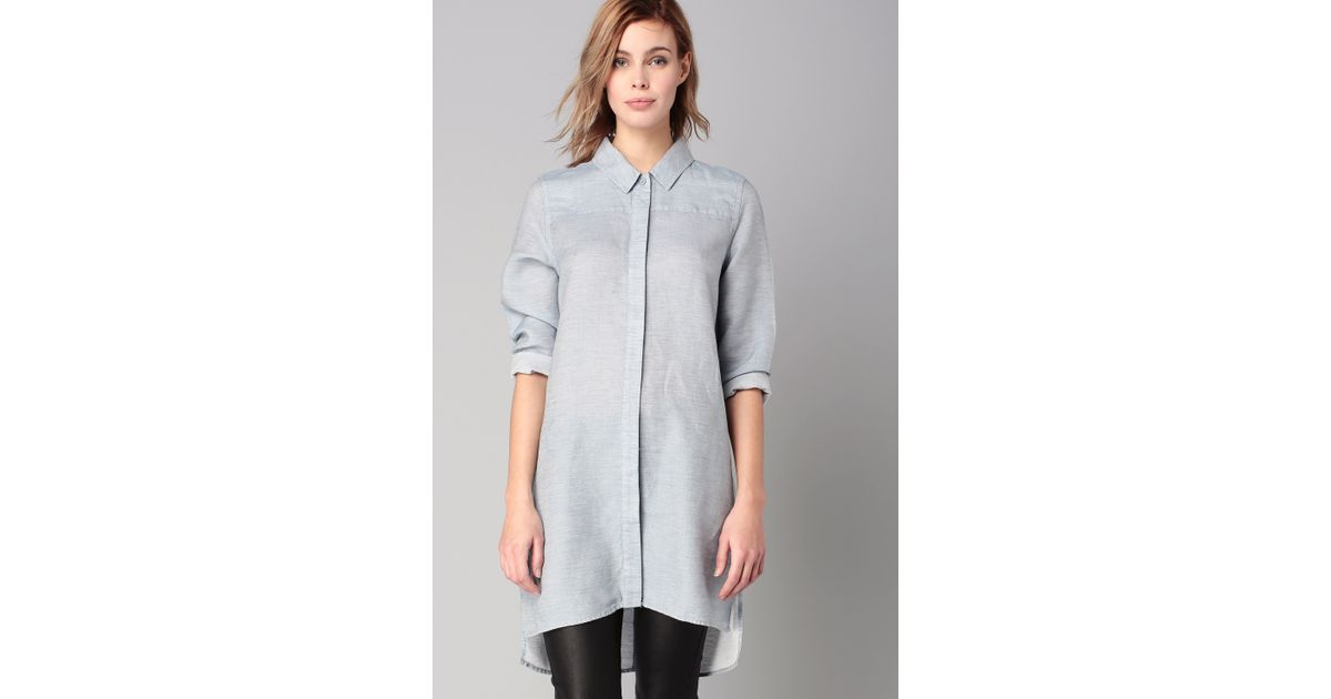 French Connection Shirt Dress In Blue Lyst