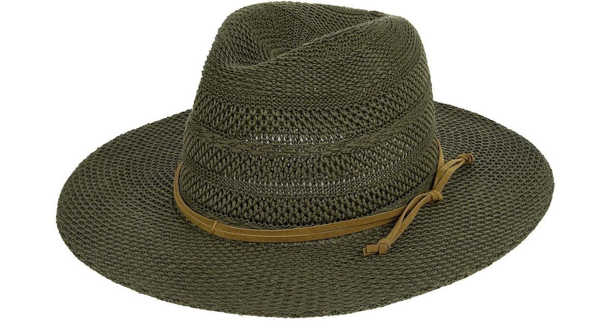 24480518 Accessorize Rancher Packable Fedora Hat in Green - Lyst