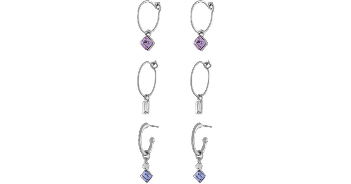 22419b703 Accessorize 3x Hoop Earrings With Swarovski® Crystals in Metallic - Lyst