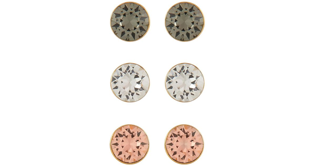 6352d5cb0 Accessorize 3x Gold-plated Stud Set With Swarovski® Crystals in Metallic -  Lyst