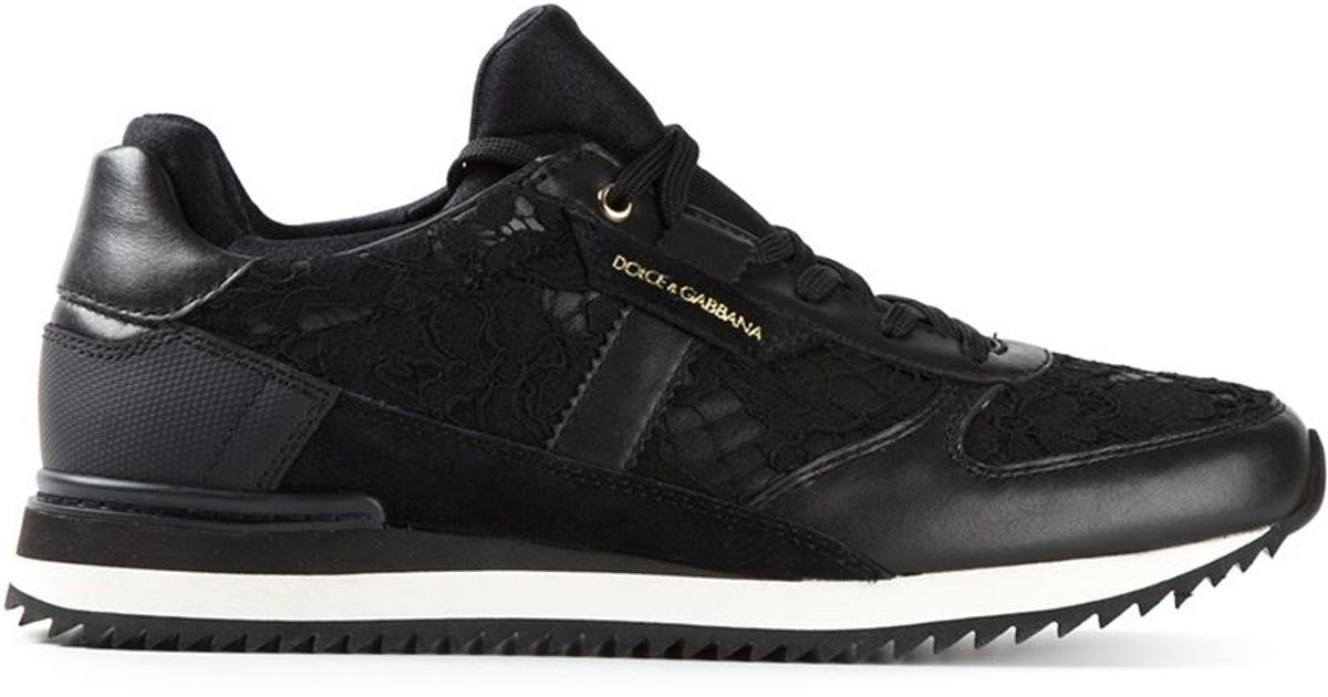 f08c48307b1 Lyst - Dolce   Gabbana Floral Lace Sneakers in Black