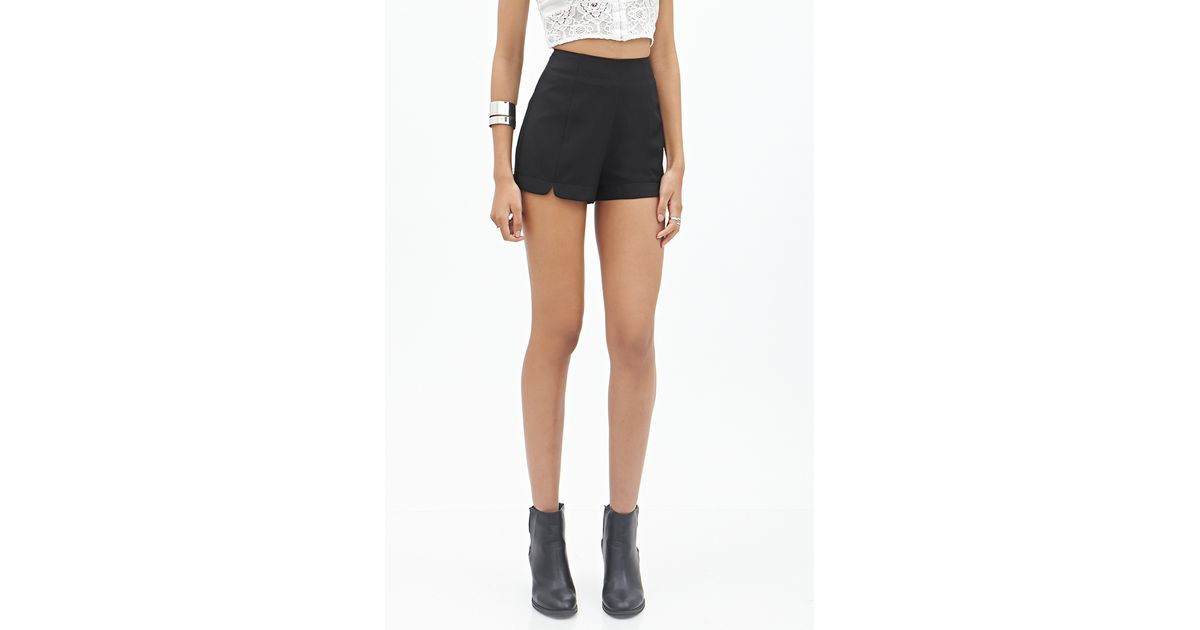 Forever 21 High-waisted Crepe Shorts in Black | Lyst