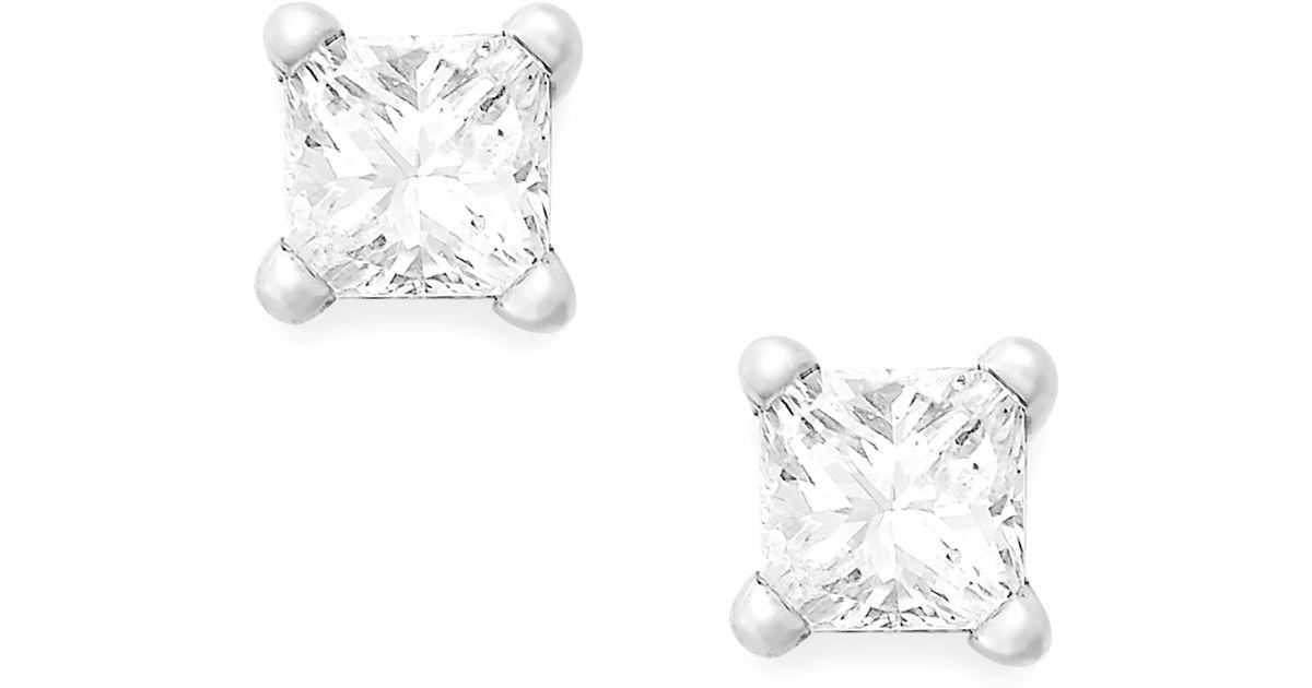 Macy S Princess Cut Diamond Stud Earrings In 10k Yellow Or White Gold 1 5 Ct T W In Metallic