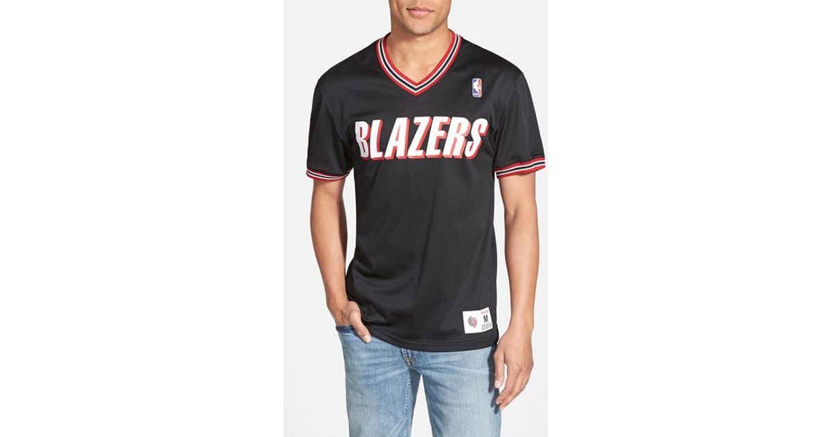 0e73eec3d Lyst - Mitchell   Ness  portland Trailblazers  Tailored Fit Mesh T-shirt in  Black for Men