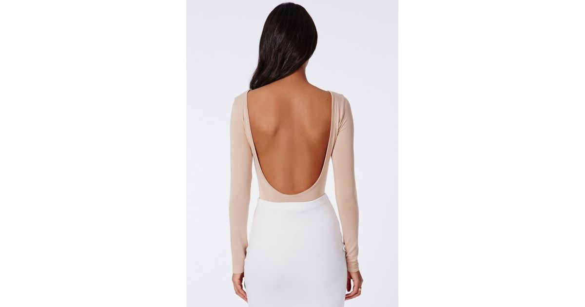 Lyst - Missguided Open Back Bodysuit Nude in Natural 21ac03799