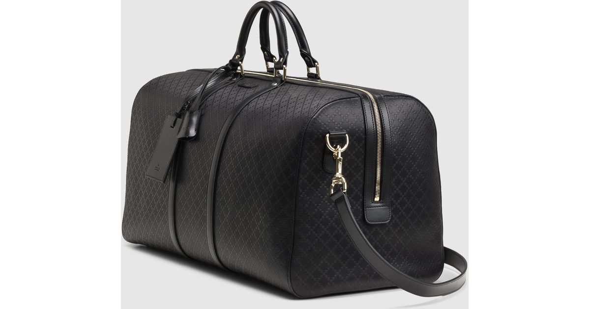 6256600f2616 Gucci Bright Diamante Leather Carry-on Duffle Bag in Black for Men - Lyst