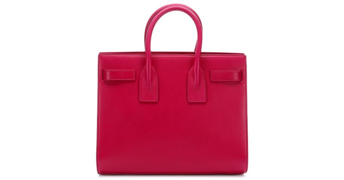 Lyst Saint Laurent Bright Pink Leather Sac De Jour Small Convertible Tote In