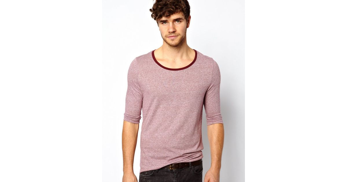 1007a943d3e8 Lyst - ASOS 34 Sleeve Scoop Neck Tshirt in Moulinere Fabric in Red for Men