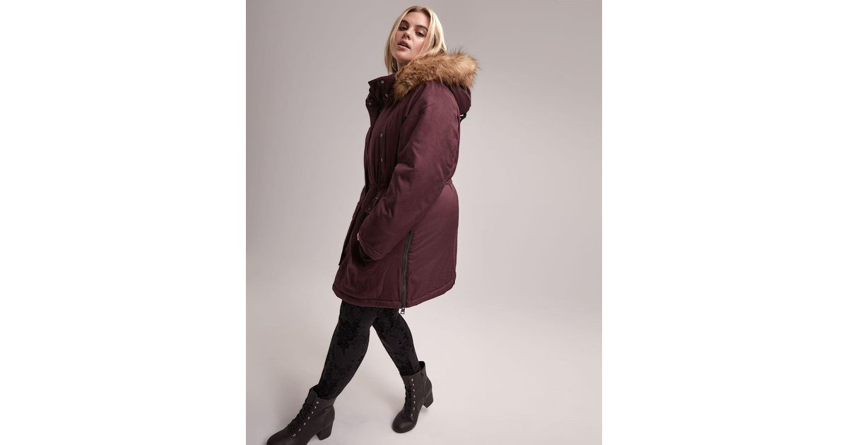 7671434a6a0 Lyst - Addition Elle Faux Fur Hooded City Parka - Livik in Purple