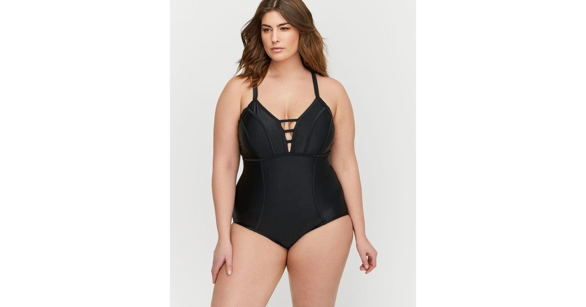 dc1ca5a30a7 Lyst - Addition Elle Cactus Deep V-neck One Piece Swimsuit in Black