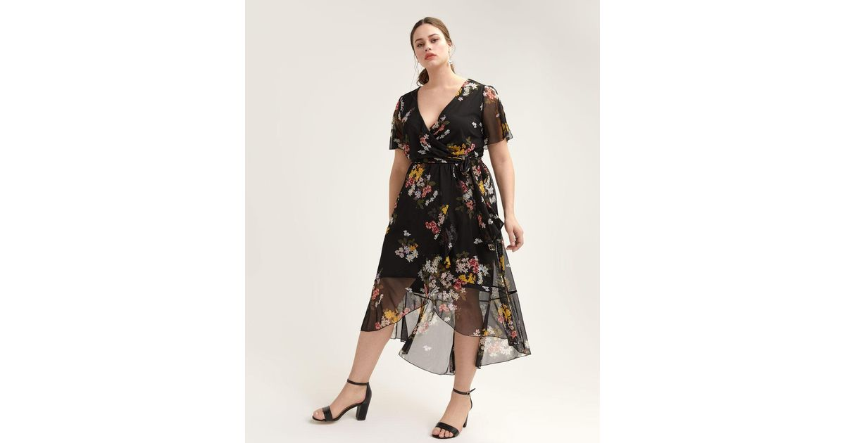 19a0298a7d8a Lyst - Addition Elle High-low Mesh Floral Dress With Flutter Sleeves in  Black