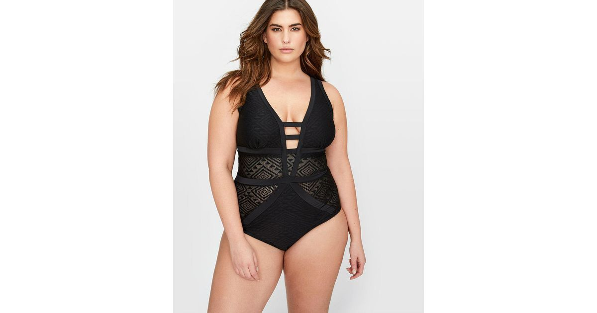 0976e087f60 Lyst - Addition Elle Cactus Crochet One-piece Swimsuit in Black