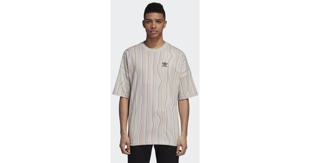 d169f296c2 Lyst - adidas Warped Stripes Tee in Gray for Men