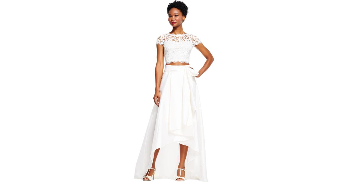 Lyst Adrianna Papell High Low Ball Skirt In White