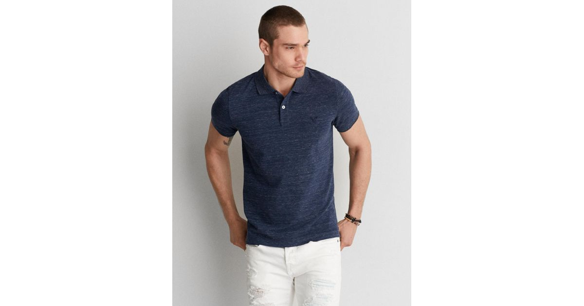 5c19a8a7 Lyst - American Eagle Ae Solid Pique Flex Polo in Blue for Men
