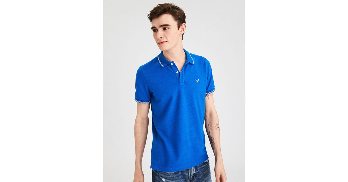 116be27e American Eagle Ae Tipped Stretch Pique Logo Polo in Blue for Men - Lyst