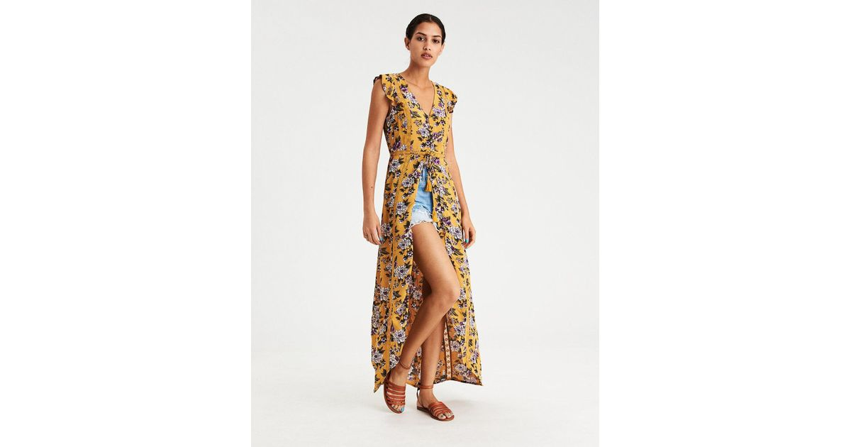 Lyst - American Eagle Ae High Low Ruffle Sleeve Duster Maxi Dress