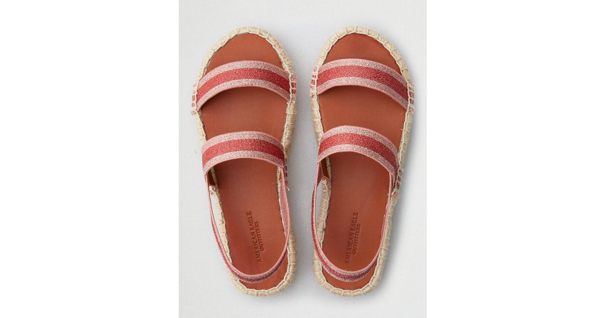 8a258ab30c9 Lyst - American Eagle Double Band Flatform Espadrille Sandal in Pink