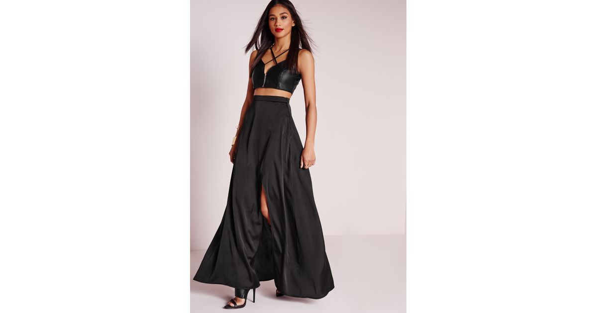 691a710c89 Missguided Satin Wrap Maxi Skirt Black in Black - Lyst
