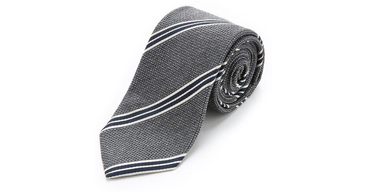 7fd6e78103e5 Drake's Striped Silk Grenadine Tie in Gray for Men - Lyst