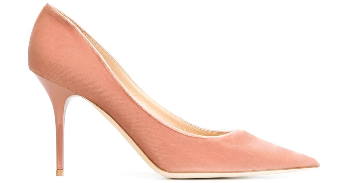 a1f6147577d Lyst - Jimmy Choo Agnes Velvet Pumps in Pink
