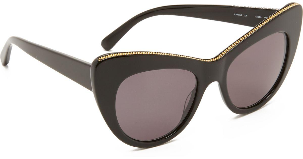 2a20548c425a5 Stella mccartney Chain Cat Eye Sunglasses in Black
