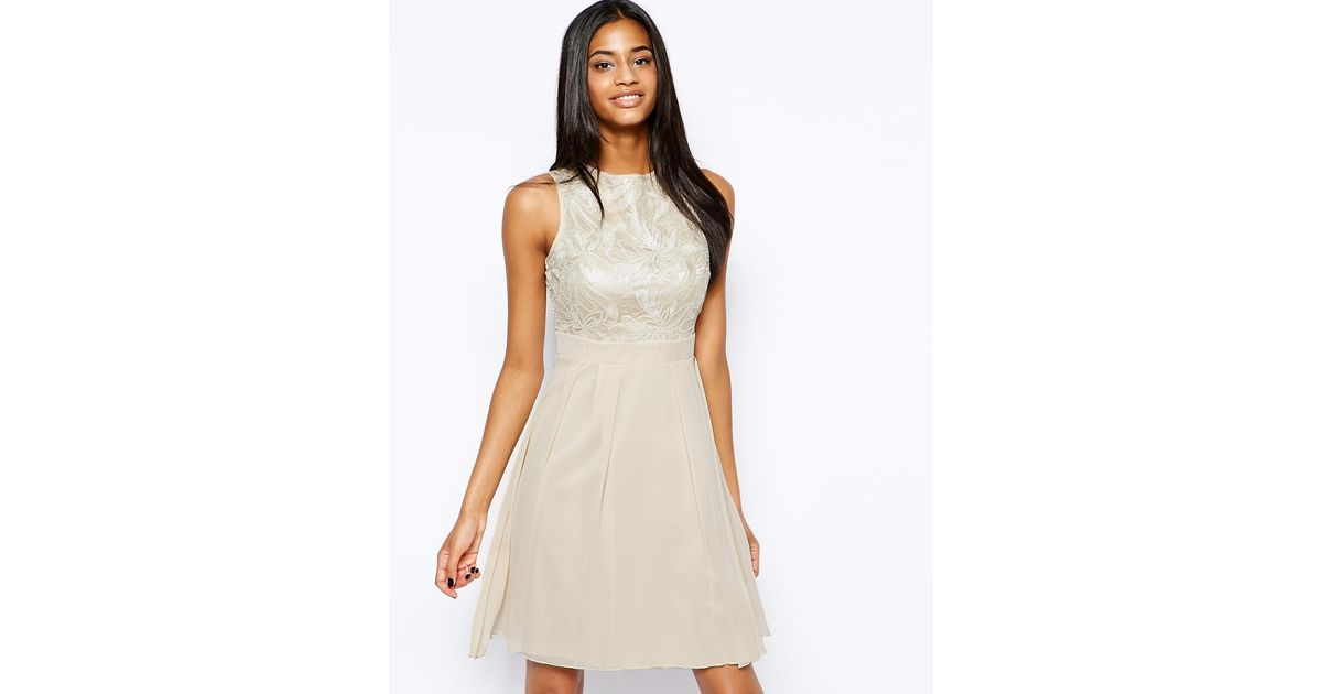 Lyst - Little Mistress Floral Sequin Babydoll Prom Dress in Natural