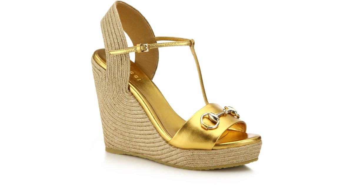 714eea4c266 Lyst - Gucci Metallic Leather Horsebit Espadrille Wedge Sandals in Metallic