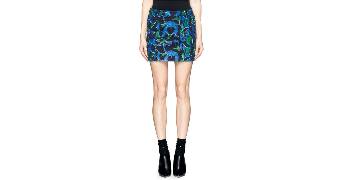 048d9103d5 Lyst - KENZO Abstract Floral Puzzle Print Denim Skirt