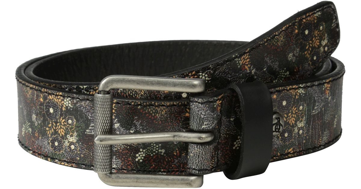original penguin printed leather belt in floral for lyst
