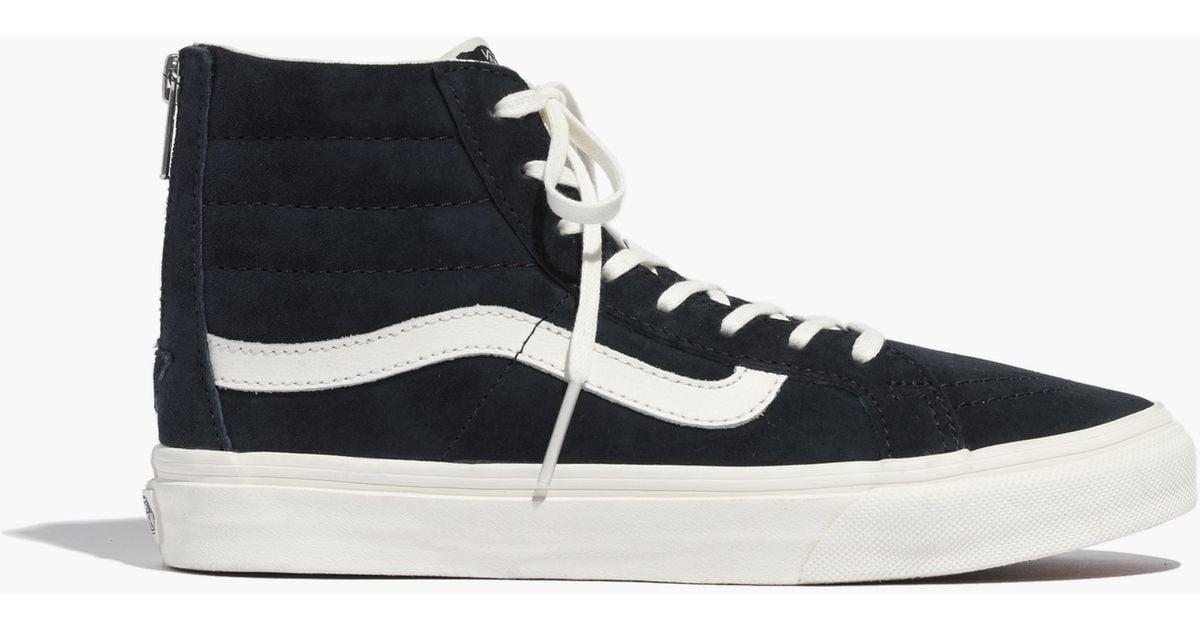 ec1b176e19 Lyst - Madewell Vans® Sk8-Hi Slim Zip High-Top Sneakers In Navy Leather in  Blue