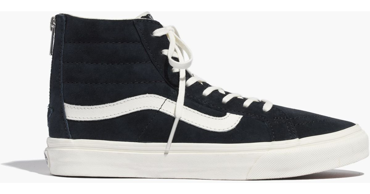 c8d076d1a293 Lyst - Madewell Vans® Sk8-Hi Slim Zip High-Top Sneakers In Navy Leather in  Blue