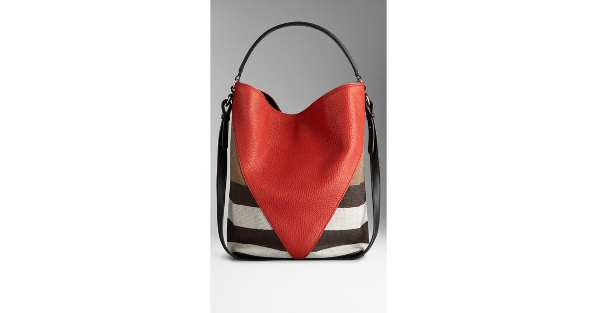 10ee23d6a14 Burberry Medium Canvas Check Leather Chevron Hobo Bag in Red - Lyst