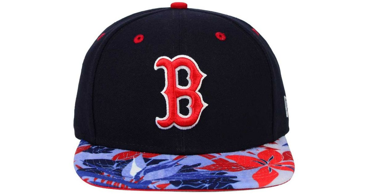 big sale 76ac7 8133c ... get lyst ktz boston red sox floral viz 9fifty snapback cap in blue for  men 577af
