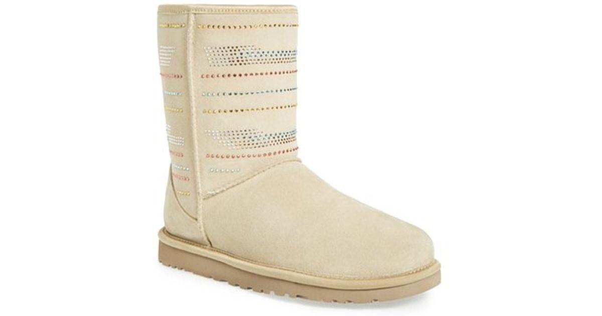 1101b39cc7b UGG - Natural Classic Short Serape Bling Wool Boots - Lyst