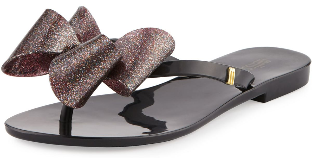 af861bcb9df5d6 Melissa Harmonic Bow Jelly Thong Sandal in Black - Lyst