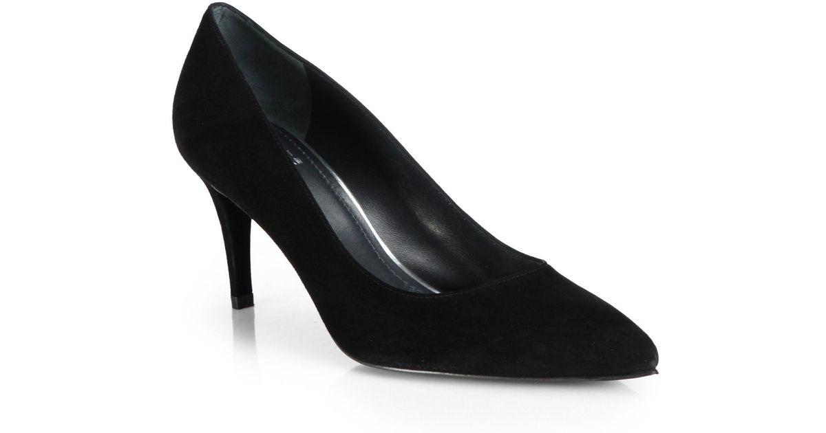 cf37875f7cf1 Lyst - Stuart Weitzman Pinot Suede Mid-heel Pumps in Black