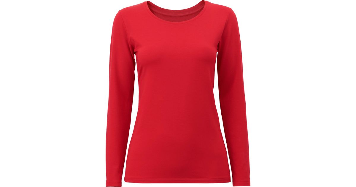51fe827262e7 Lyst - Uniqlo Women Heattech Extra Warm Crew Neck T-shirt in Red