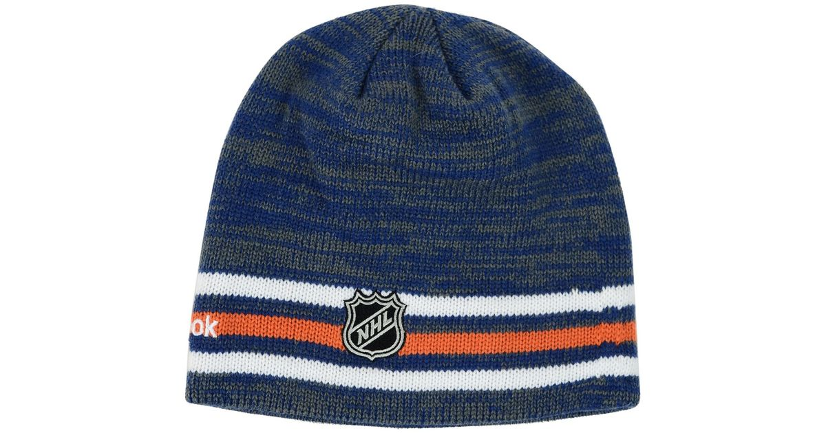 56bdc53d954 ... shopping lyst reebok edmonton oilers player knit hat in blue for men  aeb3e 8be10