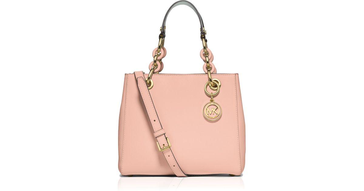 aff0b82250c5 ... denmark lyst michael michael kors satchel small cynthia saffiano in pink  69acb d959d ...