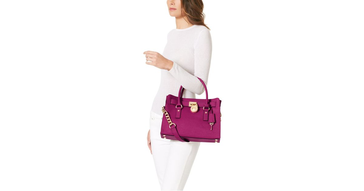 d912172b33f391 Michael Kors Hamilton Saffiano Leather Medium Satchel in Purple - Lyst