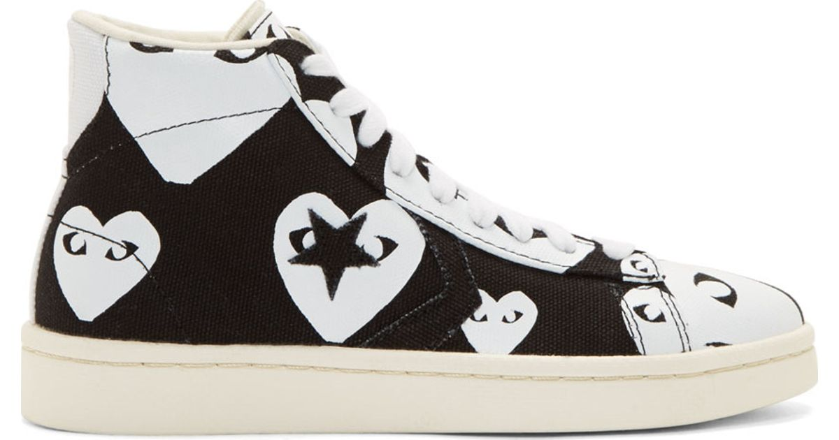 bb0a0b47b113 Lyst - Play Comme des Garçons Black   White Heart Print Converse Edition  High-top Sneakers in Black
