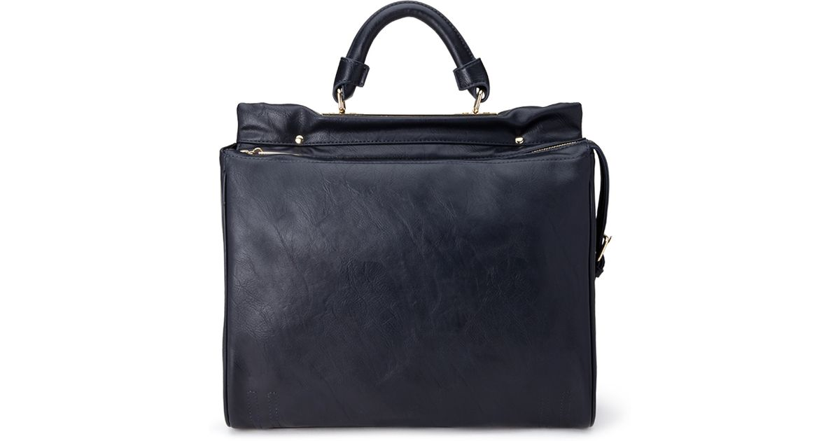 40bd0ed85028 Lyst - Forever 21 Structured Faux Leather Satchel in Blue
